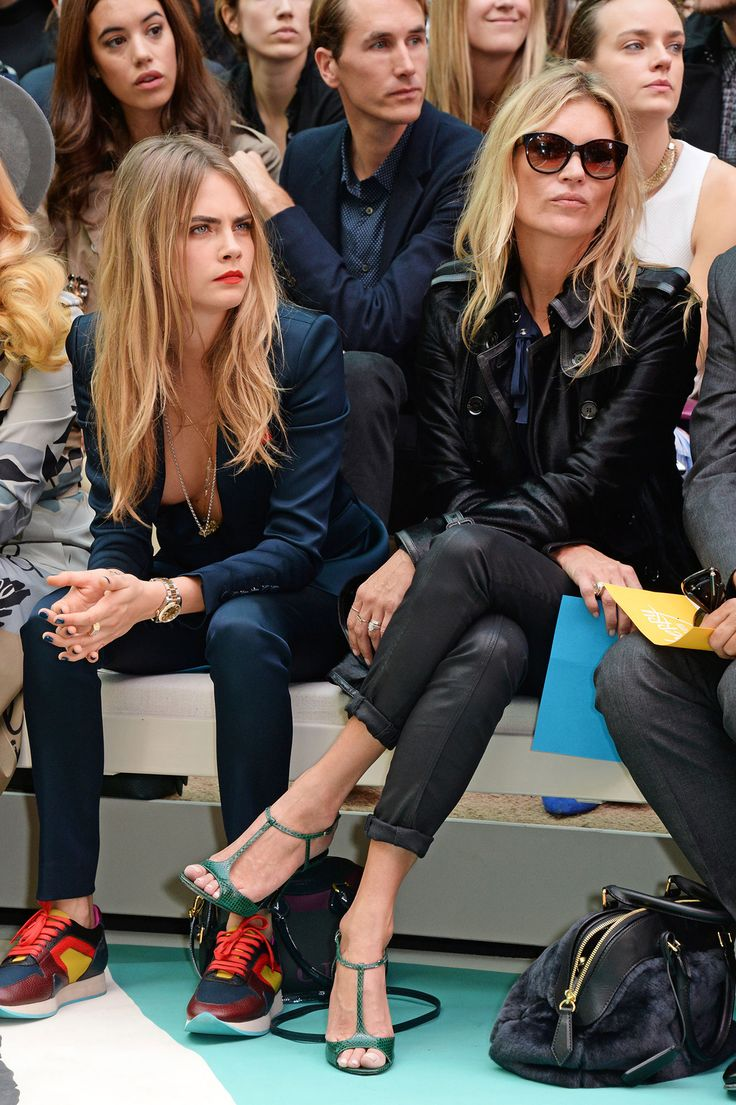 London Fashion Week Spring 2015's Best Moments - A Dynamic Duo - Cara Delevingne and Kate Moss