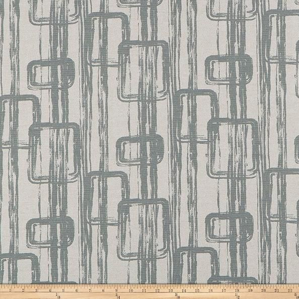 Add a touch of affordable luxury to your home with Scott Living fabrics. This heavyweight (approximately 12 ounces per square yard) basketweave fabric features a lovely blend of cotton and linen for the utmost in versatility and great texture. This print features an abstract linked design with variations in the printing for a slightly industrial look. Perfect for use in upholstery projects, heavier draperies, valances, toss pillows, and more. Colors include steel grey on a basketweave base…