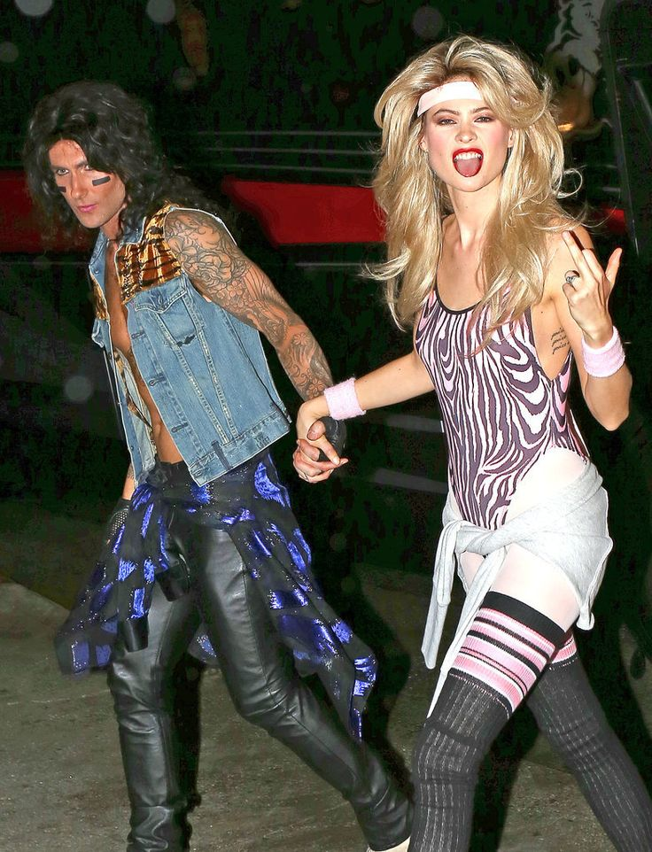 Let Adam Levine and Behati Prinsloo as an '80s couple inspire your couples Halloween costume!