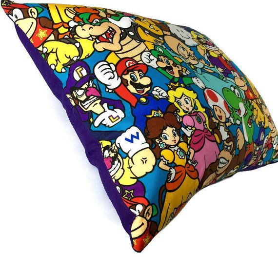 Video Game Decor Mario & vrienden katoen Throw Pillow