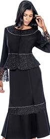 Clearance Devine Sport NY DS51682 - Soft Stretch Denim Skirt Suit With Peplum Jacket & Lace Accents