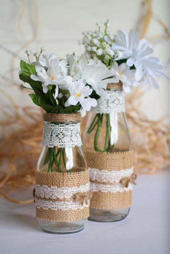 Rustic Wedding Centerpiece Vase Set Burlap And Lace Mason Glass Vase Country Or Barn Wedding Decor En 2020 Decoration Table Mariage Champetre Decoration Mariage
