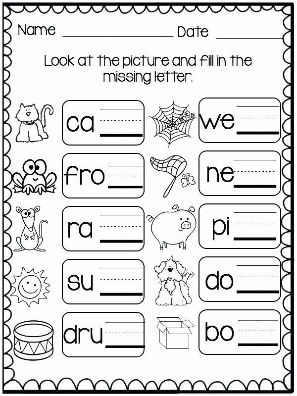 Missing Letters Worksheets for Kindergarten Three Letter