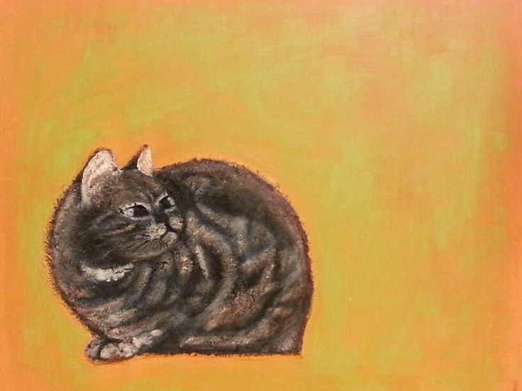 Coffee Cat. 2013. 53.0 x 45.5cm. Mixed Media on Canvas