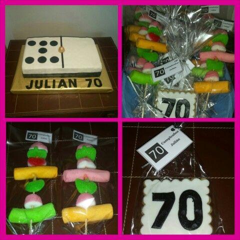 Celebración de un 70 cumpleaños!! Galletas para los adultos y brochetas de chuches para los más peques!!