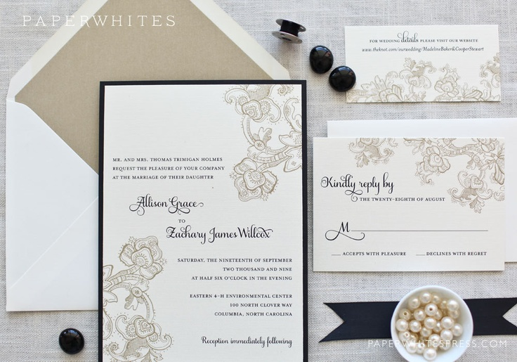 DEPOSIT Hanna Wedding Invitations by paperwhitespress on Etsy, $100.00