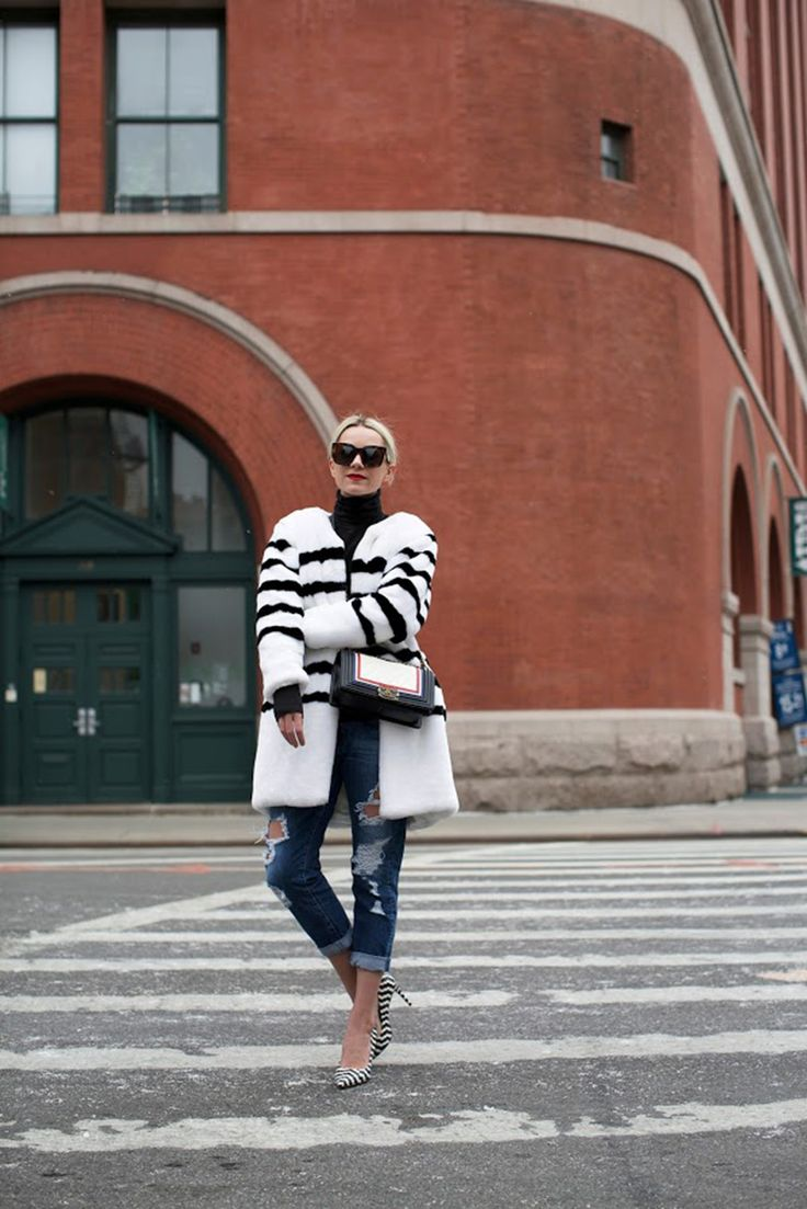 black-and-white-striped-fur-colorblock-coat-colored-fur-rolled-jeans-turtleneck-nyfw-atlantic-pacific