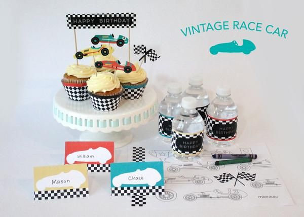 Vintage Race Car Party Decorations from i.pinimg.com