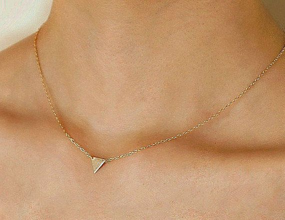 Solid Gold 14K triangle necklace Tiny Gold by SoCoolCharms on Etsy
