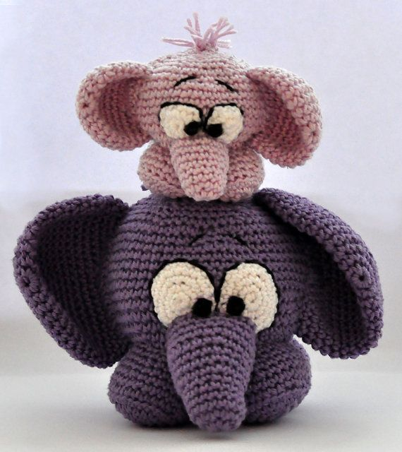 crochet pattern amigurumi elephants pdf by MOTLEYCROCHETCREW