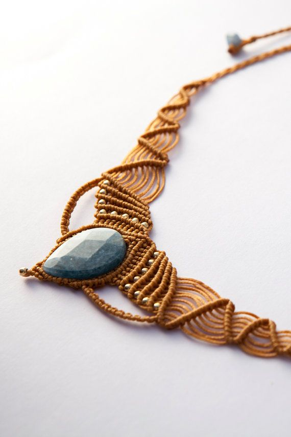 Aquamarin Pocahontas Necklace, natural macrame necklace, Camel necklace, wax threads Aquamarin and goldfield beads,