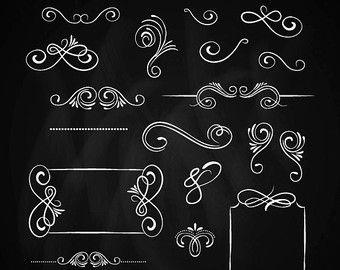 Chalkboard banners clipart: Digital clipart CHALKBOARD by Grepic