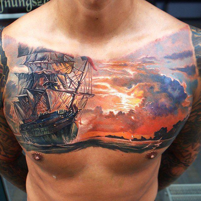 realistic sunrise tattoo : Cat Tattoo; Sunrise background