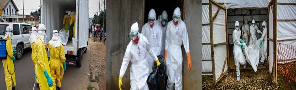 This is a team of the Ebola virus burial team in Liberia, Sierra Leone and Guinea whose responsibility is to gather all dead bodies, disinfect them and the environment where those bodies were located. More information: https://sites.google.com/site/assistworldhealthorganisation/
