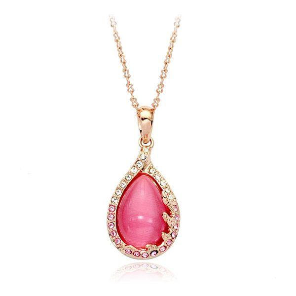 Милый розовый Опал кулон с огнем форма Ожерелье Для партии девушки