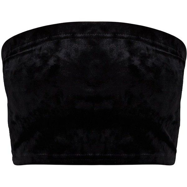 Petite Black Velvet Bandeau Top (54 ILS) ❤ liked on Polyvore featuring tops, stretchy tops, velvet top, stretch top, bandeau bikini tops and bandeau top