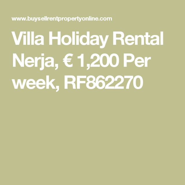 Villa Holiday Rental Nerja, € 1,200 Per  week, RF862270