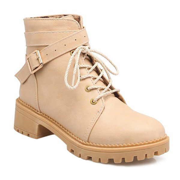 Lace Up Cross Strap Buckle Ankle Boots - APRICOT 38
