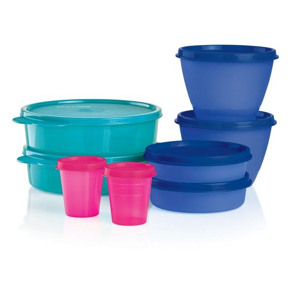 Tupperware Little Bit of Everything Set - BUY 1, GET 1:           This must-have set nicely complements the Summer Jam Lunch Bag featured in the Summer catalog.    Get two sets at this price   Each set includes  2-oz./60 mL Tupper® Minis, 6-oz./177 mL Little Wonders®  Bowl, 13½-oz./400 mL Refrigerator Bowl and 2-cup/500 mL Big Wonders®  Bowl.   In Pink Punch, Tokyo Blue and Tropical Water   Dishwasher safe   Limited Lifetime Warranty