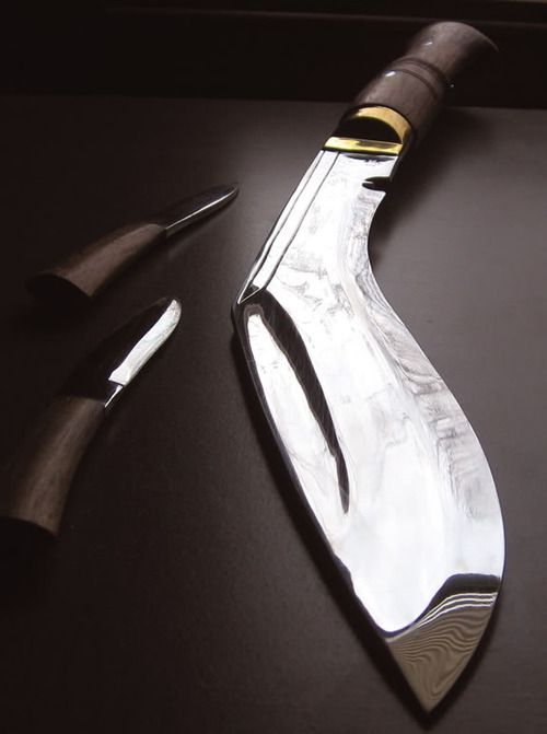 Nepalese kukri/khukuri knife - infamous weapon of the Gurkhas. It gained literary attention in the 1897 novel Dracula by Bram Stoker. Despite the popular image of Dracula having a stake driven through his heart at the conclusion of the climactic battle, the narrative actually describes his throat being sliced through by Jonathan Harker's kukri and his heart pierced by Quincey Morris's Bowie knife...