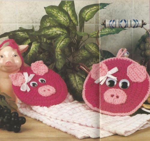 CROCHET-PATTERNS-PIG-POTHOLDER-BABY-PINAFORE-SUNFLOWER-TISSUE-COVER-AFGHAN