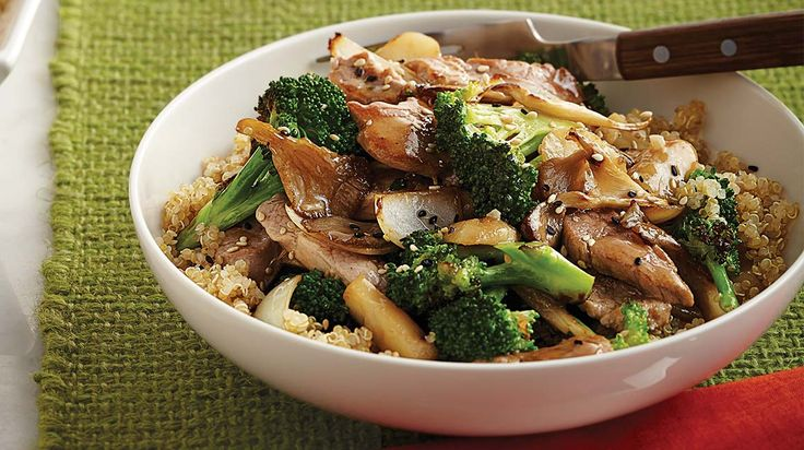 Sauté de porc au brocoli et aux champignons