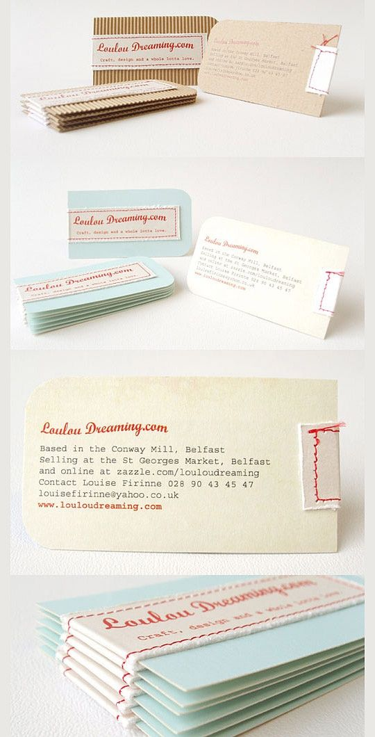 Hand Stitched Business Cards by Louise Firinne, Loulou Dreaming