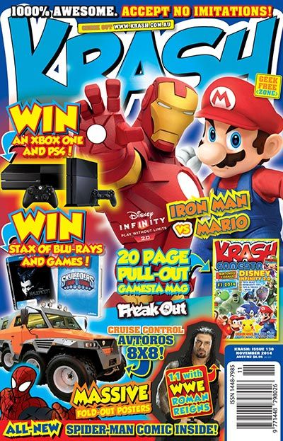 KRASH. A magazine just for boys. With common phrases such as 'Geek Free Zone' '100% Awesome' 'No Nerds Allowed' & 'Beware of Imitations' this magazine is looking to engage boys aged 6-12. It's core of WWE, anime, sports, cars, weird and wacky news, gaming, puzzles, quizzes and movie/toy reviews. My son will love this when he can read.