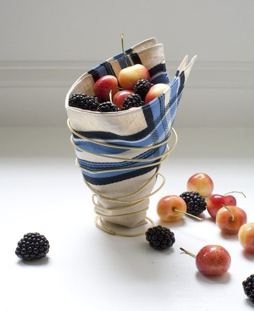 Cool basket idea... using wire clothes hanger, spray paint, and a napkin or piece of fabric.