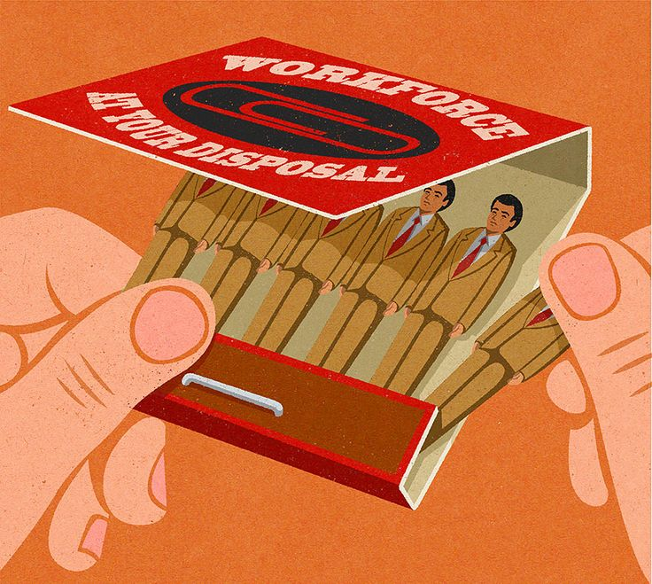The Disposable Workforce - Satirical Illustrations Of Today's Problems Drawn In The Style Of The 50s, John Holcroft