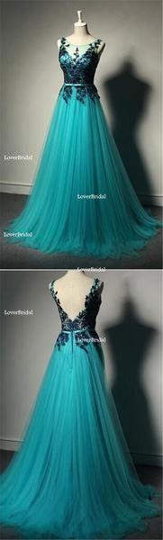 Tulle V-Back Floor-length Black Apllique A Line Formal Inexpensive Evening Long Prom Dress, PD0202