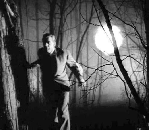 Chased through the woods by a glowing part-manifestation - Night of the Demon (1957)