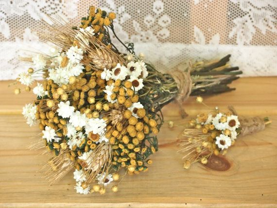 Hippie CHIC WEDDING Bouquet and Boutonniere - Dried Flowers are Perfect for Rustic Weddings