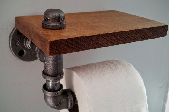Welcome to Locust & Plum where we specialize in industrial decor.  Industrial Wall mounted toilet paper holder with Special Walnut stained maple