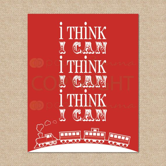 Train Nursery / Kids Room Art Print // I think I can by PaperRamma, $20.00
