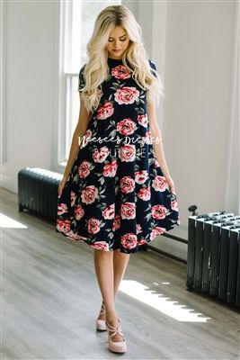 Navy Pink Floral Swing Modest Dress Bridesmaids Dress, Church Dresses, dresses for church, modest bridesmaids dresses, trendy modest dresses, modest womens clothing, affordable boutique dresses, cute modest dresses, mikarose, best modest boutique