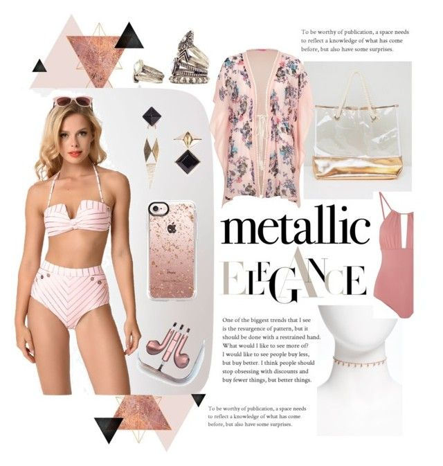 """""""rose gold goddess"""" by jhmess ❤ liked on Polyvore featuring Betsey Johnson, PhunkeeTree, South Beach, Nadri, Casetify, Melissa Odabash, River Island, Elegance, rosegold and sunkissed"""