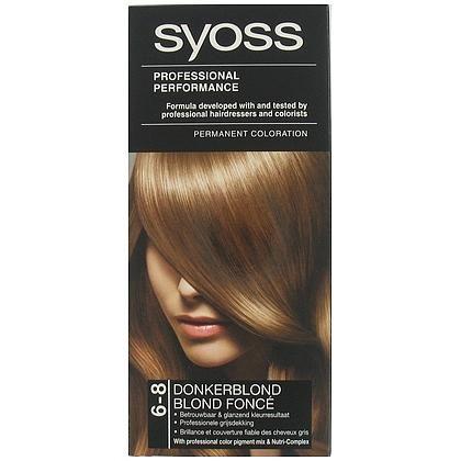 Syoss Haarverf nr. 6-8 Donkerblond  Description: Syoss Haarverf nr. 6-8 Donkerblond Syoss 6-8 Donkerblond formule heeft de professionele kleurpigmentenmix die diep in het haar doordringt voor een langdurig en glanzend kleurresultaat. De kleuring heeft de professionele verzorging die u bij de kapper ervaart en de voedende conditioner met Nutri-Care complex verrijkt met Pro-Vitamine B5 zorgt voor een langer resultaat en intense verzorging na het kleuren. Ervaar nu de professionele…