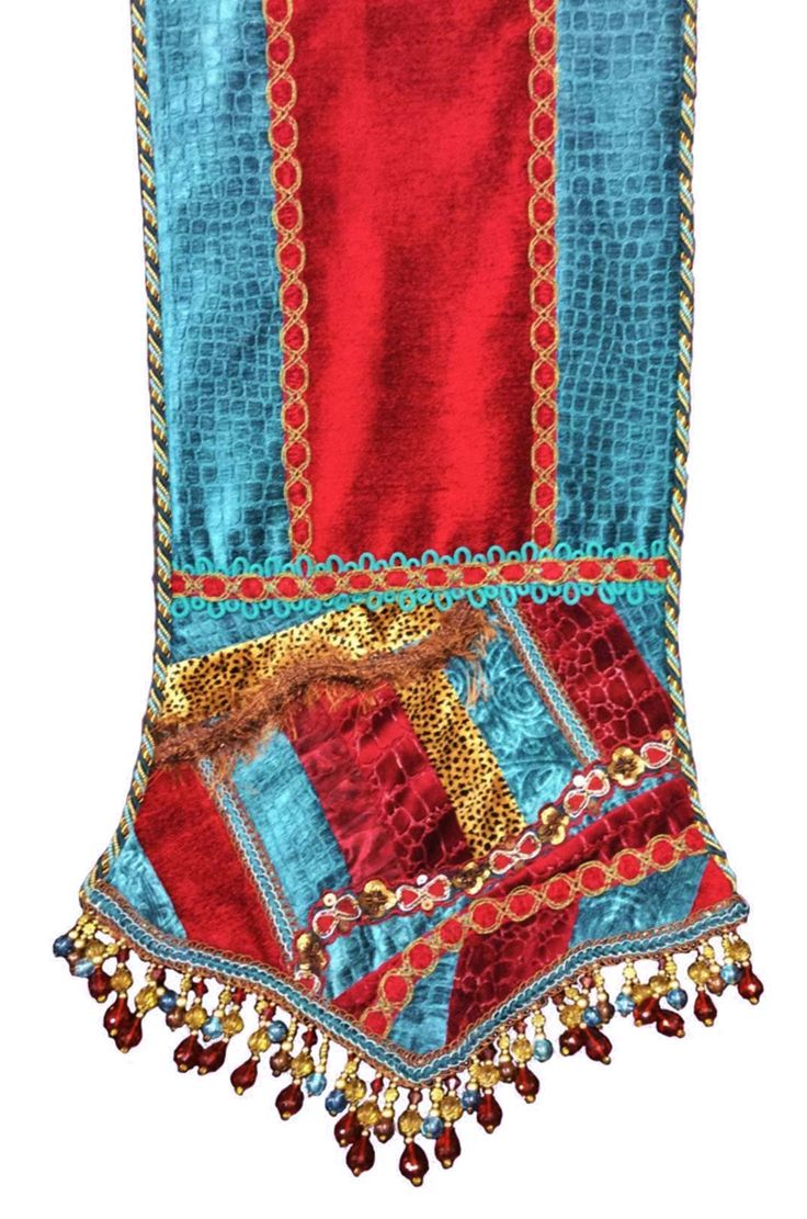 This Turquoise And Red Chenille Table Runner Is Accented With A Bit Of  Velvet Cheetah.