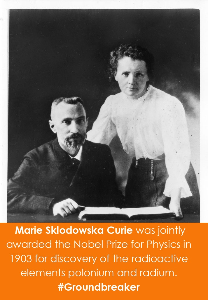 Pierre Curie (1859-1906) and Marie Sklodowska Curie (1867-1934) were jointly awarded the Nobel Prize for Physics in 1903 for discovery of the radioactive elements polonium and radium. #Groundbreaker