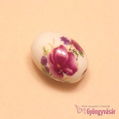Lila petúnia - 18x12 mm ovális porcelán gyöngy • Gyöngyvásár.hu