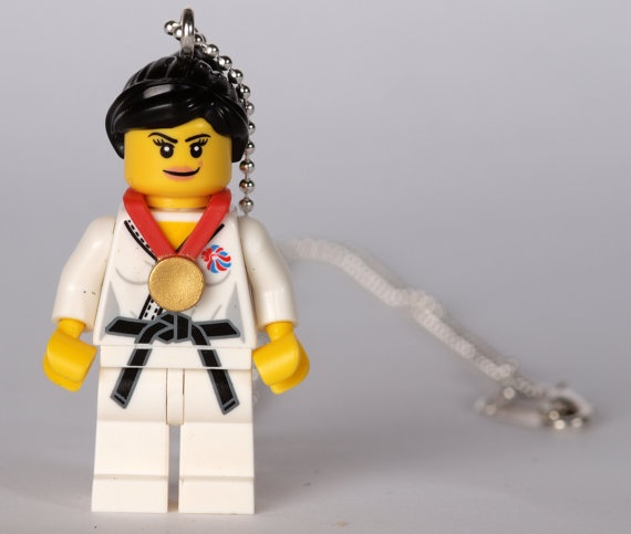 Team GB KARATE girl Lego minifigure necklace by brickheads on Etsy, £8.00