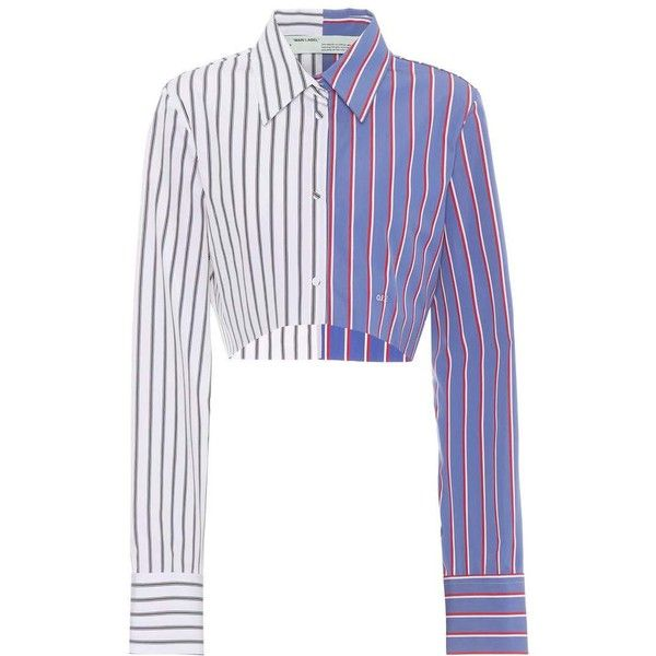 37905a1e4640ec Off-White Cropped Striped Cotton Shirt ($710) ❤ liked on Polyvore featuring  tops, blue, long-sleeved, blue striped top, stripe top, blue stripe shirt,  ...