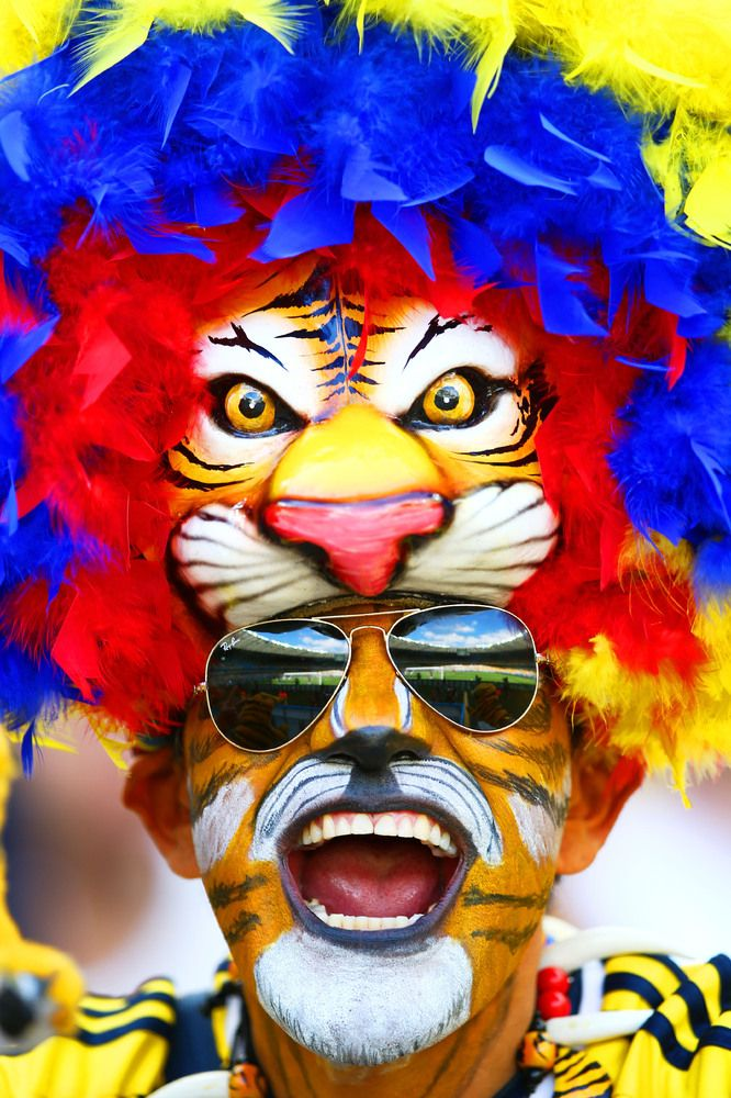 A Colombia fan shows support prior to the 2014 FIFA World Cup Brazil Group C match between Colombia and Greece at Estadio Mineirao on June 14, 2014 in Belo Horizonte, Brazil. (Photo by Paul Gilham/Getty Images)