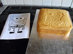 Great Spongebob cake tutorial. I would have also cut out small round impressions in the cake before covering it with the yellow fondant so he would look more like a sponge.