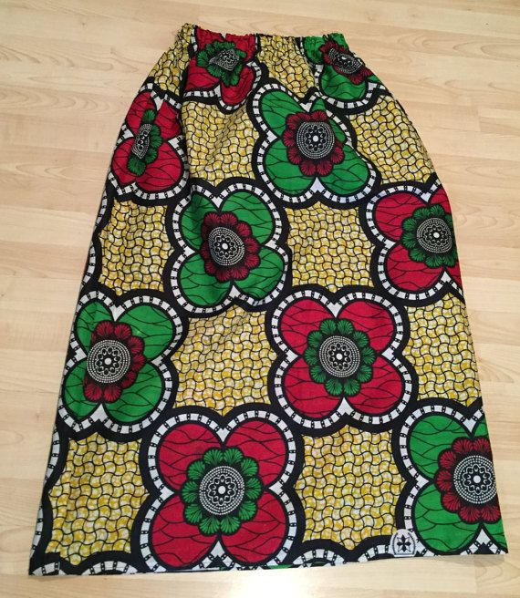 Giant Flower Maxi Skirt - African Wax Print Cotton - Fits small to large
