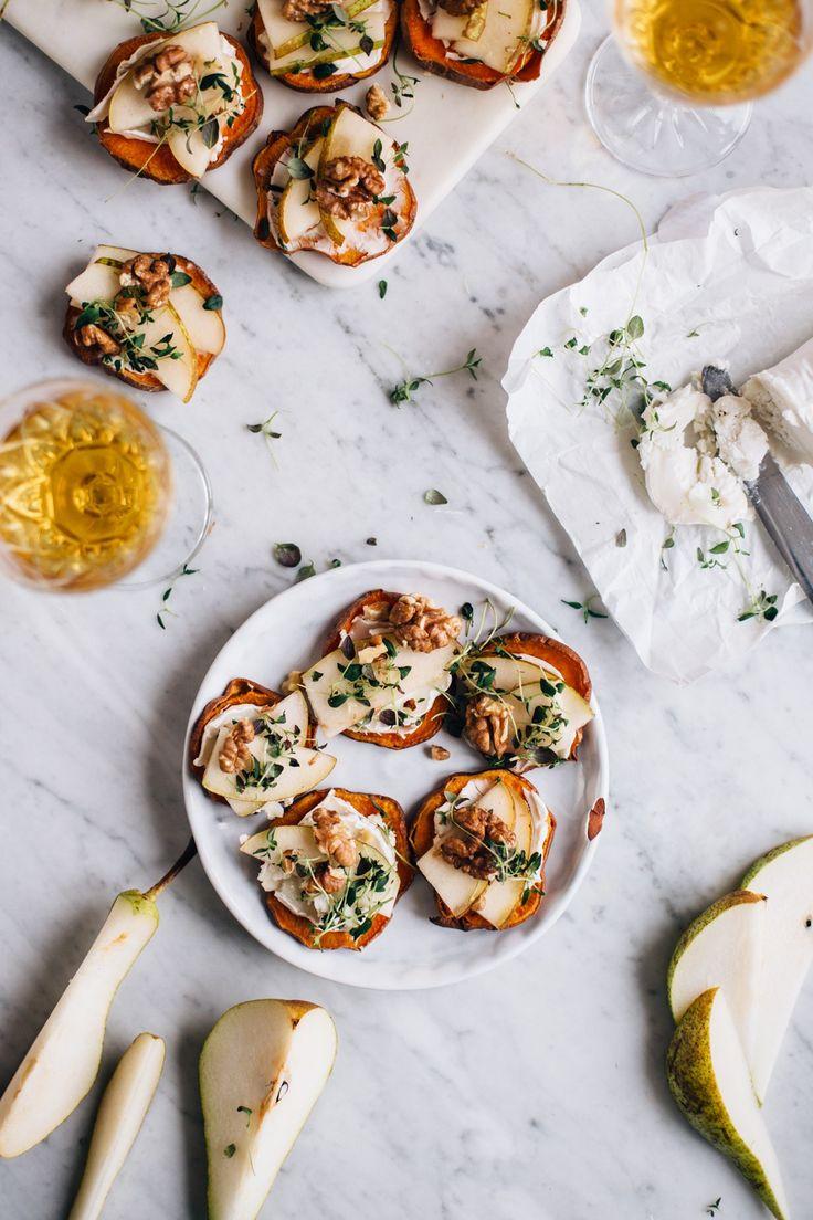 Sweet Potato Crostinis w/ Cheese, Pear & Thyme