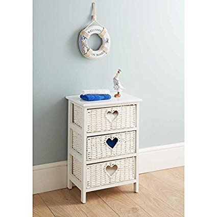 Wicker Basket Style 3 Drawer Basket Unit Bathroom Home Storage Ivory