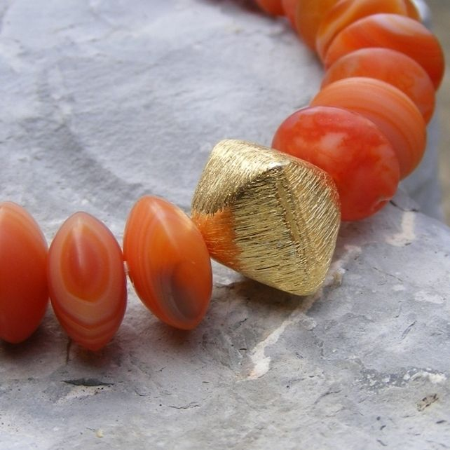 Stretch Bracelet in Sterling Silver Vermeil with Matte Sardonyx Gem Button Beads £22.75