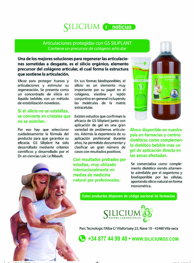 Revista PREVENIR habla de los beneficios del silicium G5 Siliplant + gel G5 silicium #articulaciones #huesos #piel #artrosis #artritis #complemento
